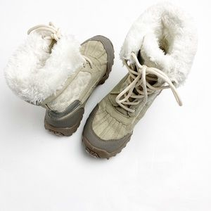 US Polo Assn Ivory Faux Fur Lace Up Winter Boots